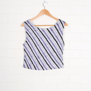 Purple Diagonal Stripe Micro Pleat Tank Top