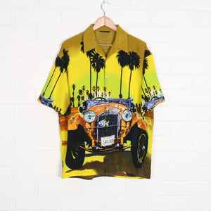 ALFA ROMEO Yellow  y2k All Over Print Shirt XL