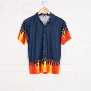 Navy y2k Short Sleeve Flame Shirt