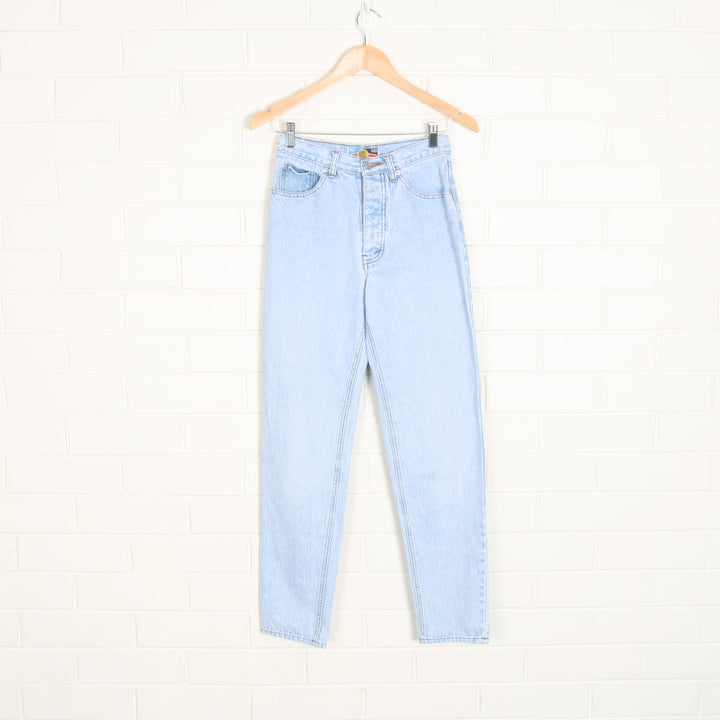 90s High Waist Light Wash Tapered Button Fly Jeans