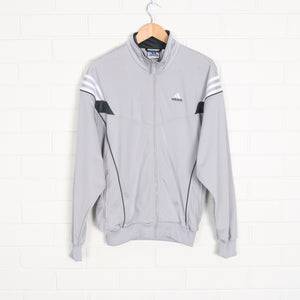 ADIDAS Embroidered Spell Out Grey Track Jacket