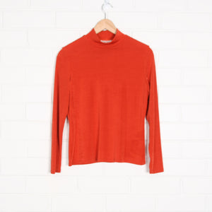 Orange Lurex High Neck Long Sleeve Top