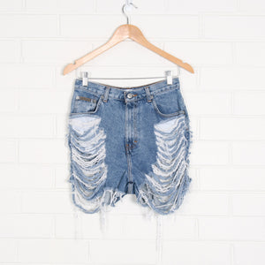 Blue CALVIN KLEIN High Rise Ripped Denim Shorts
