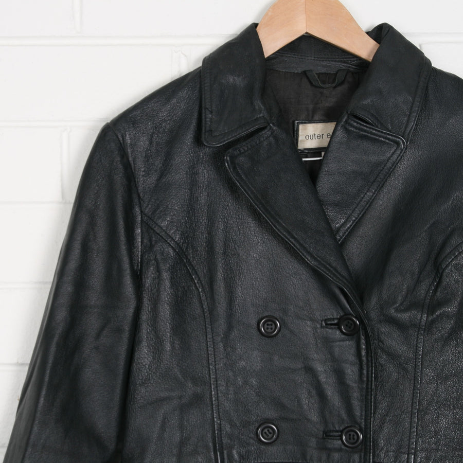 Black Leather y2k Double Breasted Coat