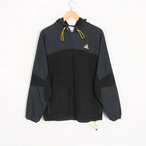 Black and Yellow ADIDAS Embroidered Hoodie Fleece Jumper