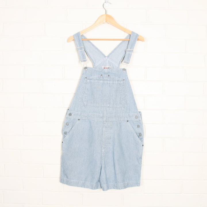 Blue and White Pinstripe Billbass 90s Short Cotton Overalls
