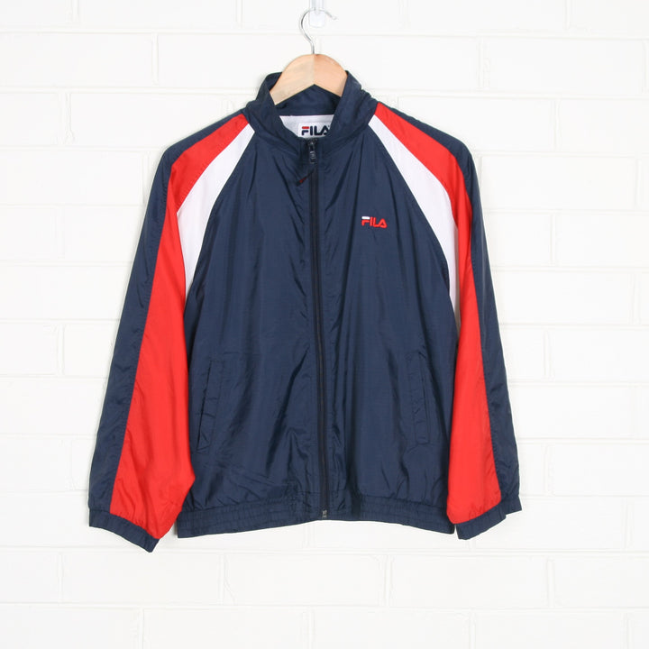 FILA Embroidered Spell Out Navy Windbreaker Jacket