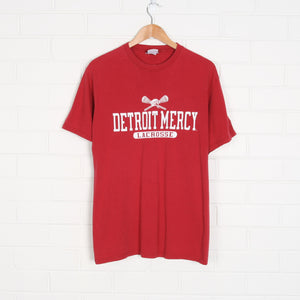 Red Champion Detroit Mercy College Lacrosse T-Shirt