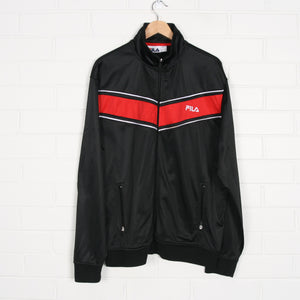 FILA Silky 90s Black Red Track Top Jacket