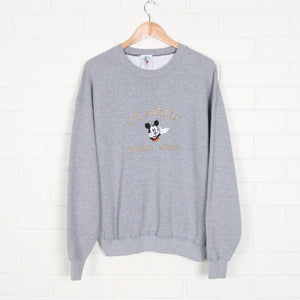 Grey Mickey Mouse Embroidered Disney Sweatshirt USA Made XL