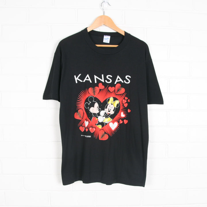 Mickey And Minnie Mouse Hearts Kansas T-shirt USA Made XL