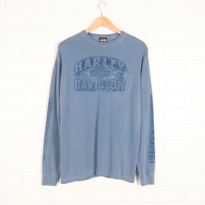 Blue HARLEY DAVIDSON 2009 Horny Toad Texas Long Sleeve T-shirt