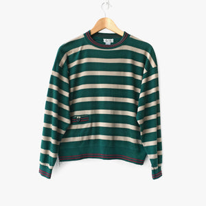 Striped Lightweight Mock Neck Sweatshirt