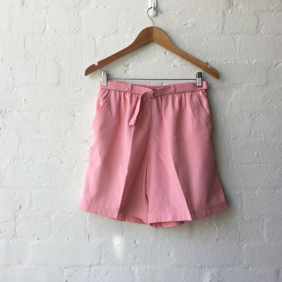 Pink High Waist Belted Shorts
