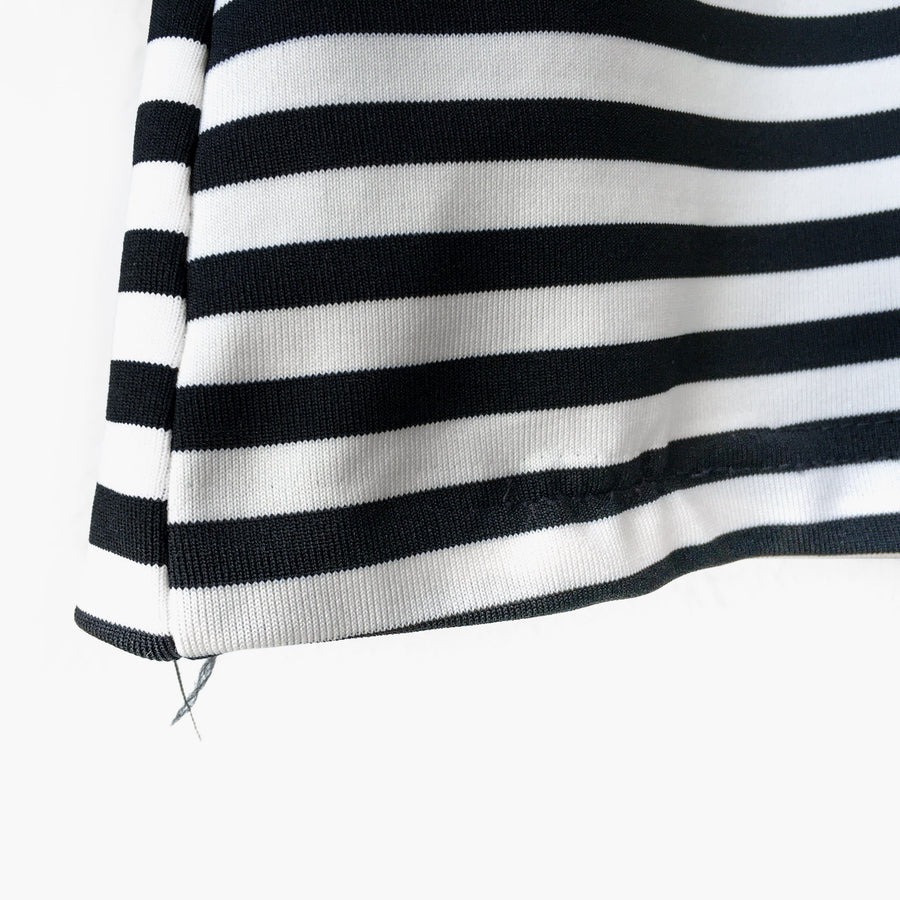 Striped Mock Neck Long Sleeve Top