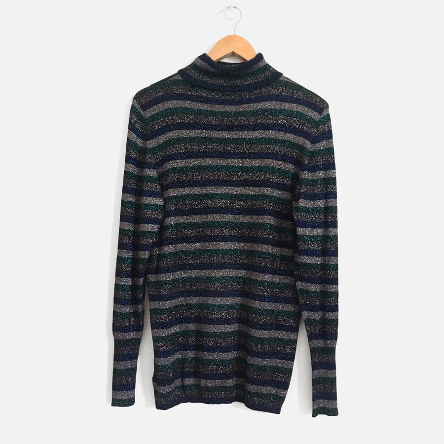 Glitter Striped Turtleneck Knit