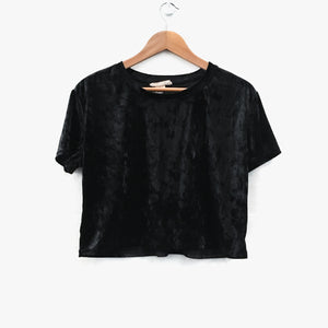 Black Velvet Crop Tee Top