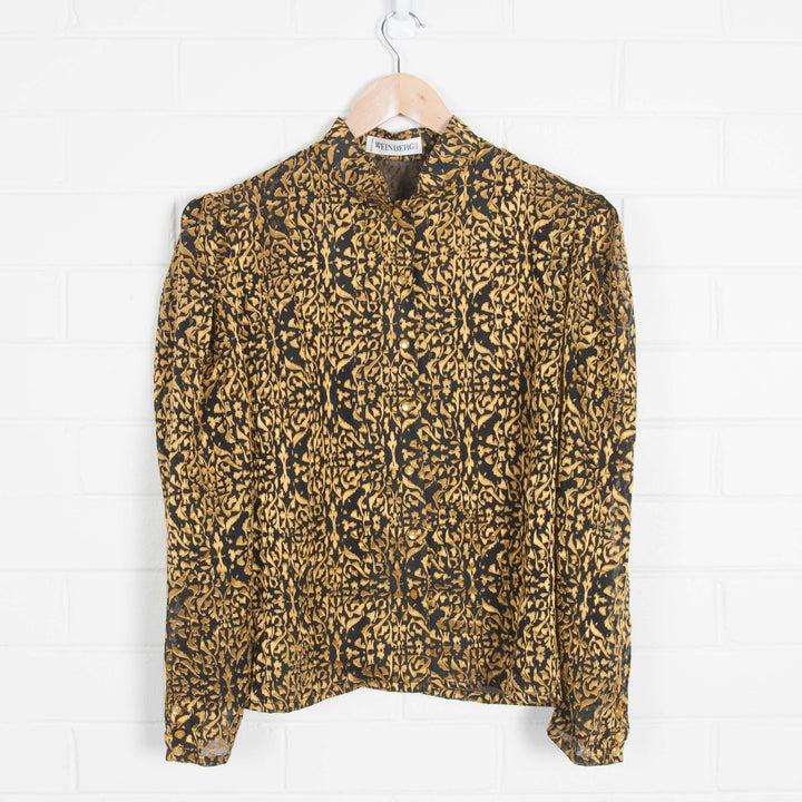Made in France 80s Puff Sleeve Black & Gold Print Shirt