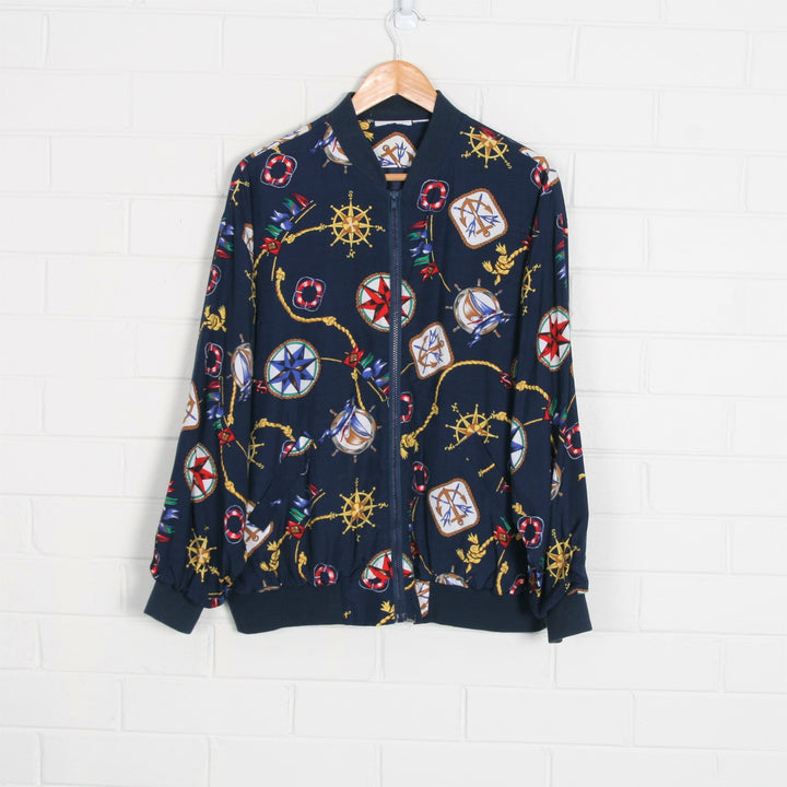 Nautical Print Cotton Bomber Jacket