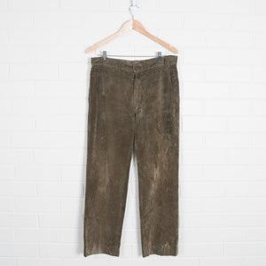 Wide Leg Thick Cord Pants Green