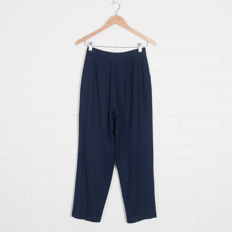 Navy Lined High Waist Crop Pants