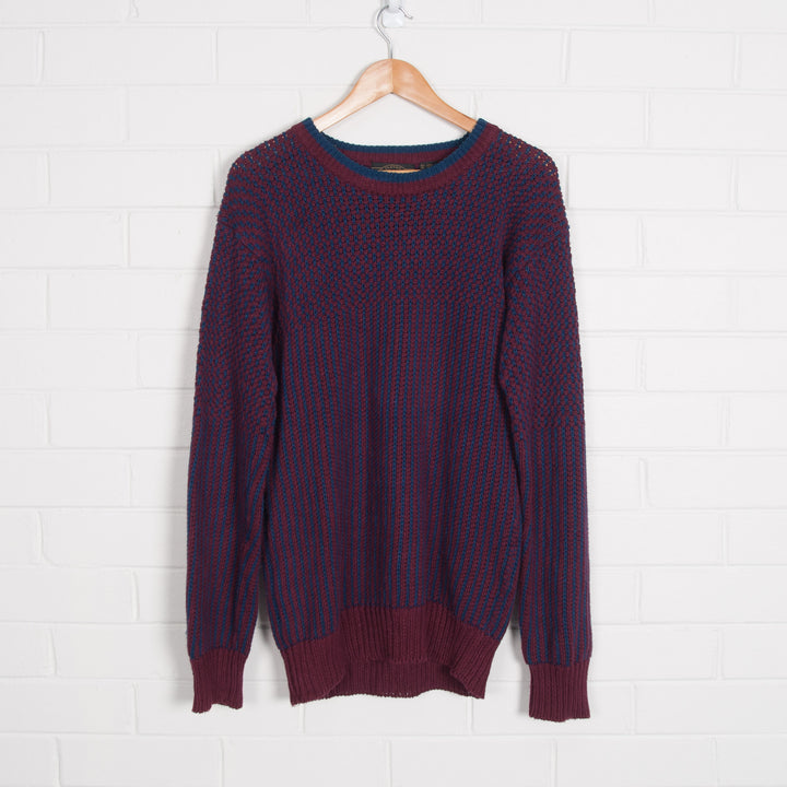 Chunky Navy Maroon Crew Neck College Knit Sweater