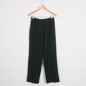 Navy High Waist Lined Wool Pleated Pants