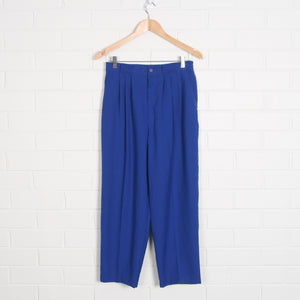 High Waist Bright Blue 80s Pleated Pants