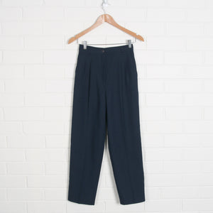 Navy High Waist Tailored Pants