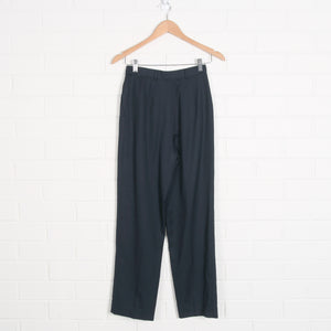Navy Lined High Waist Wool Pleated Pants