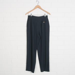80s Navy High Waist Lined Pleated Pants
