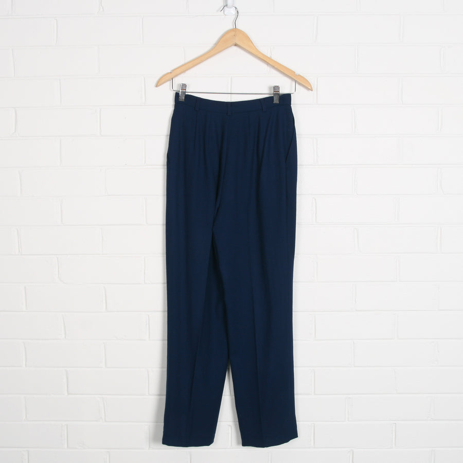Navy Lined Wool High Waist Pants Made in USA