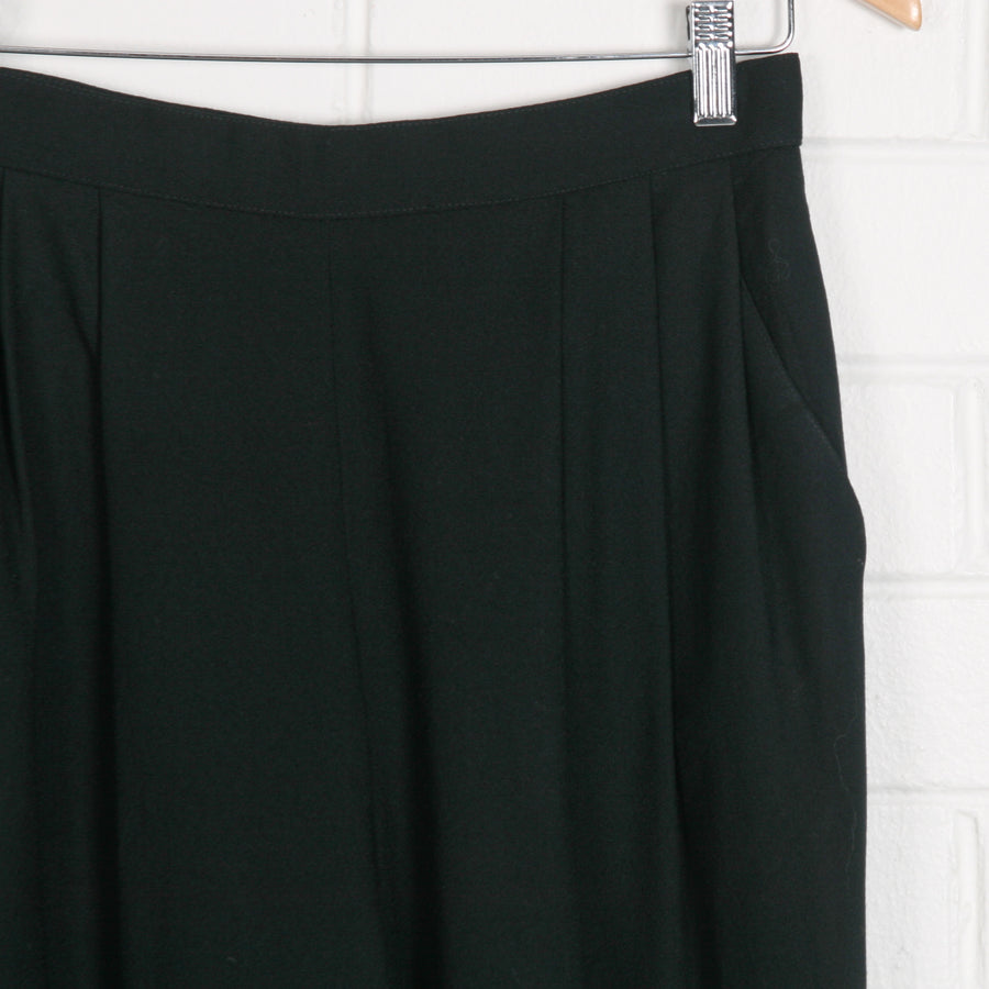 Wool Black High Waist Crop Pants
