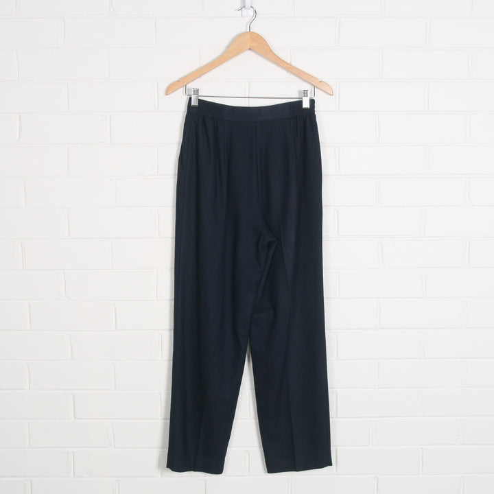Wool Navy Lined High Waist Pants
