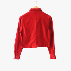 Red Cotton Velvet Crop Shacket Made Hong Kong