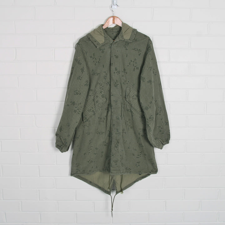 Military Khaki Check Print Hooded Anorak