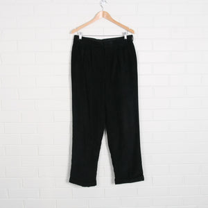 Black Cord Pleated Tailored Pants 32X30