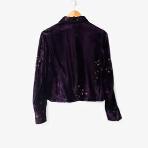 Purple Embroidered Blossom Crop Velvet Shirt