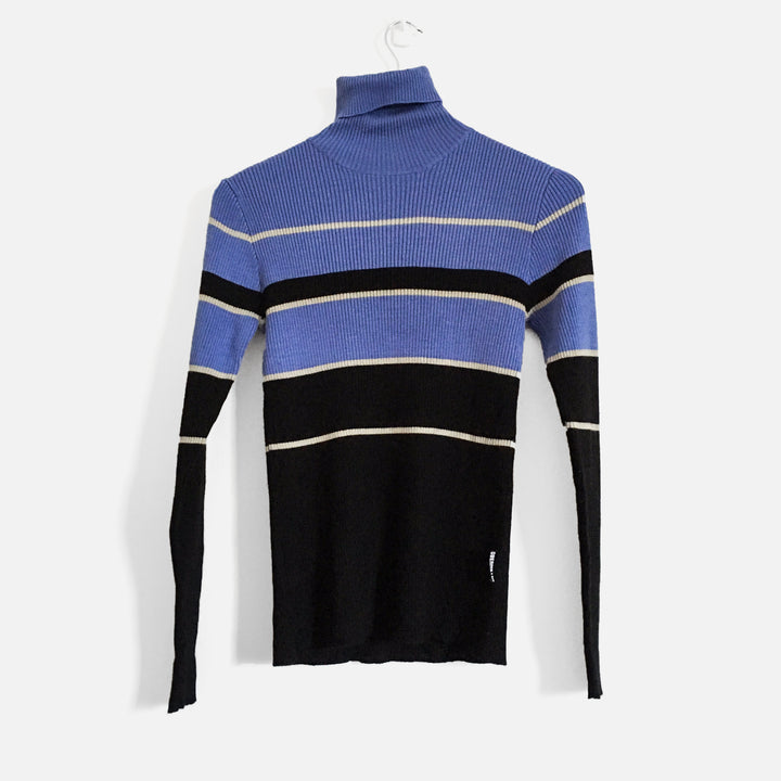 Striped Ribbed Turtleneck Knit