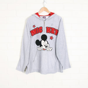 DISNEY Mickey Mouse 1/4 Zip Grey Fleece Pullover