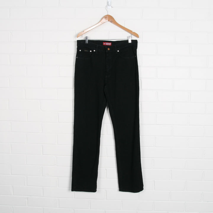 LEE Black Straight Leg Mid-Rise Jeans 34 x 32
