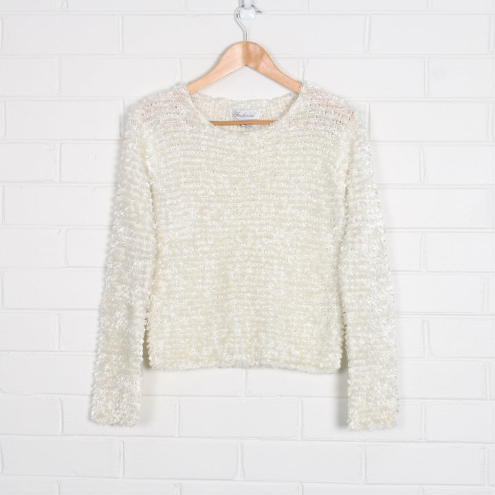 Fluffy Chenille Sheer Crew Neck Knit Sweater