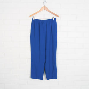 Royal Blue Textured Elastic Waist Unlined Pants