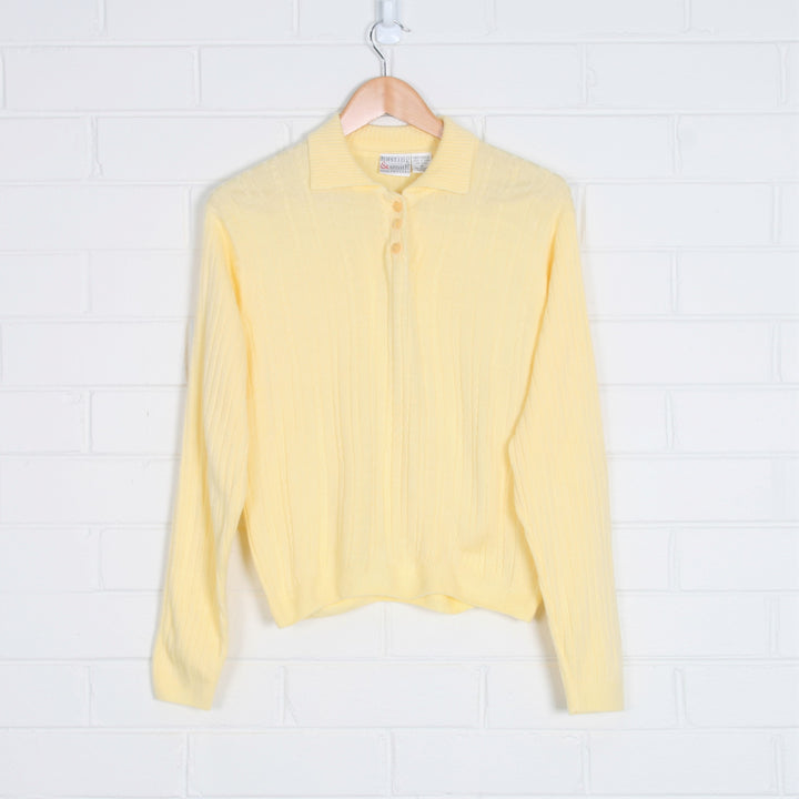 Pastel Yellow Ribbed Polo Knit Jumper