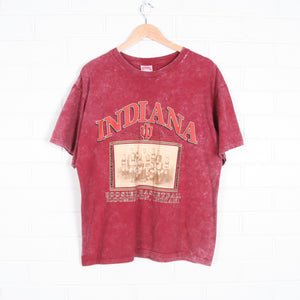 Red Acid Washed Hoosiers Basketball Bloomington Indiana T-shirt