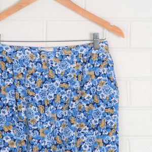 Floral High Waist Pleated Cotton Pants