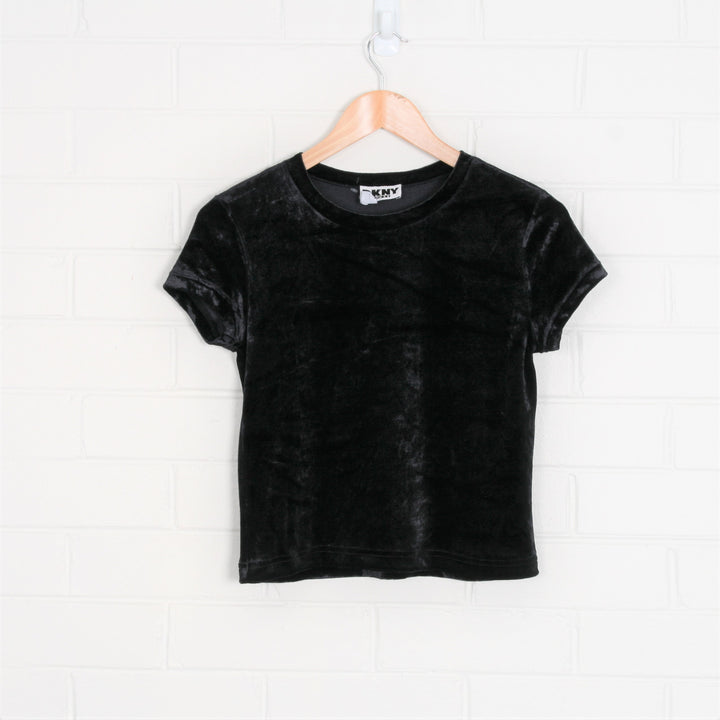 DKNY Black Velvet Cap Sleeve Crop Tee Top
