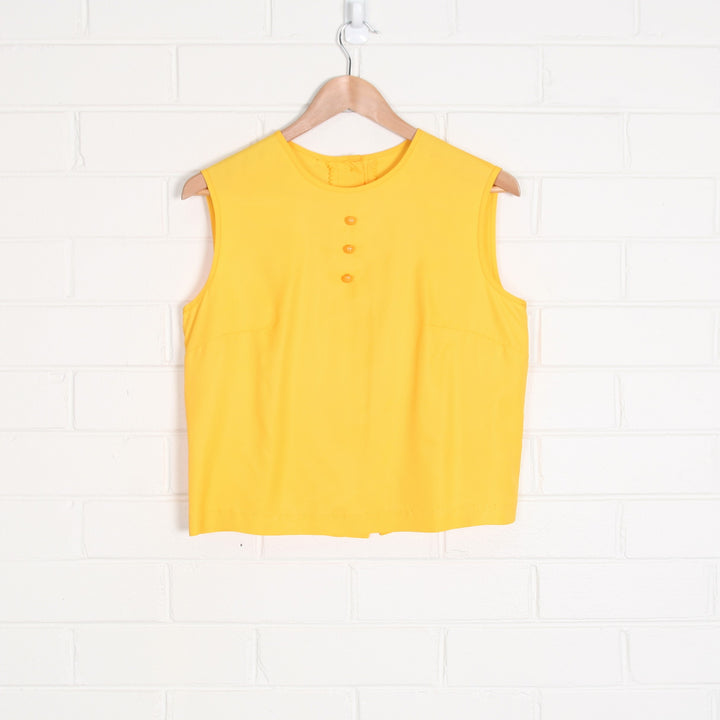 Yellow Vintage 60s Crop Tank Top