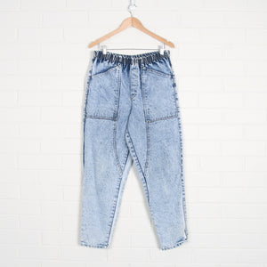Acid Wash Elastic Waist Denim Panel Jeans