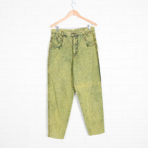 Yellow Green Acid Wash High Waist Denim Jeans